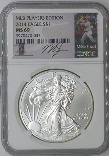 (2014 Modern Commemorative $1 MS69 NGC $1 Silver Eagle 1 Troy Oz Fine Silver .999 MLB Players Edition Mike Trout MS69 NGC)