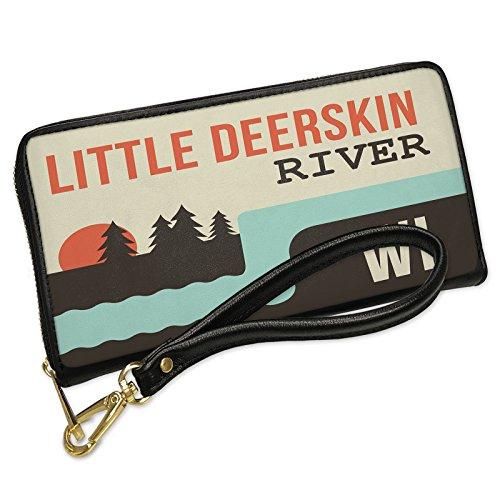 Deerskin Clutch (Wallet Clutch USA Rivers Little Deerskin River - Wisconsin with Removable Wristlet Strap Neonblond)