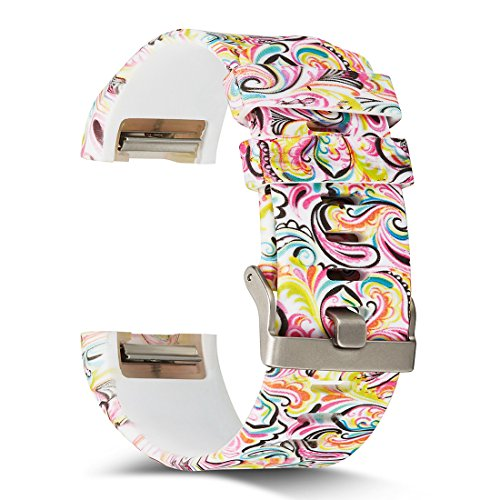 AIWELL Fitbit Charge 2 Bands,Silicone Adjustable Replacement Sport Strap Printed Bands Classic Buckle Fitbit Charge2 HR,Fitbit Charge 2 Accessories Wristbands (Pattern-12, Large)