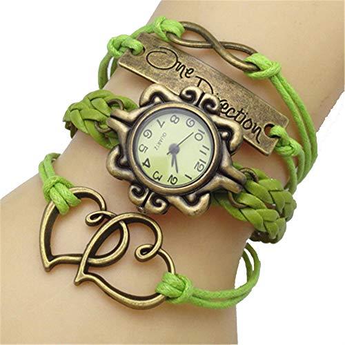 Women's Handmade Weave Openwork Double Heart Knot Friendship Stylish Bracelet (Green) ()