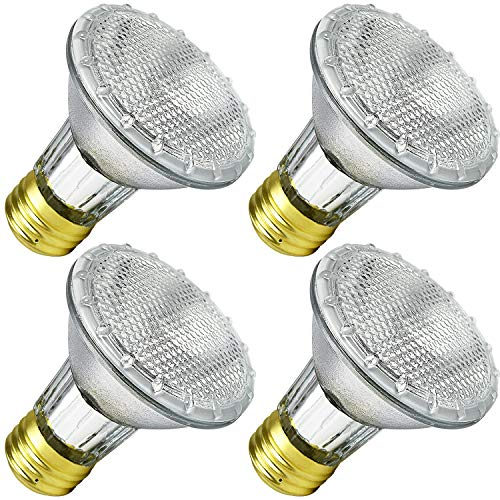 Luxrite LR20613 (4-Pack) 38PAR20/120V 38-Watt Eco Halogen Par20 Light Bulb, Dimmable, Equivalent to 50W Incandescent, 2900K, 500 Lumens, E26 medium (4 Pack Halogen Bulb)
