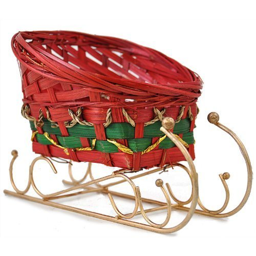The Lucky Clover Trading Holiday Bamboo Sleigh Basket, Small, Red (Small Sleigh)