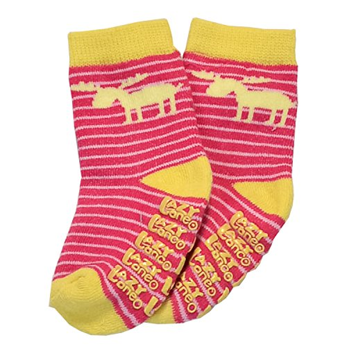 Striped Moose Pink Infant Socks by Lazy One (Striped Moose)