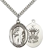 F A Dumont Sterling Silver St. Brendan the Navigator/Navy Pe with 24'' Stainless Steel Heavy Curb Chain. Patron Saint of Sailors/Mariners