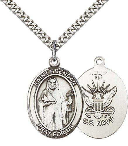 F A Dumont Sterling Silver St. Brendan The Navigator/Navy Pe with 24