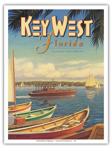 - Key West, Florida - Vacation Year-Round - Ernest Hemingway's Yacht Pilar - Vintage Style World Travel Poster by Kerne Erickson - Master Art Print - 9in x 12in