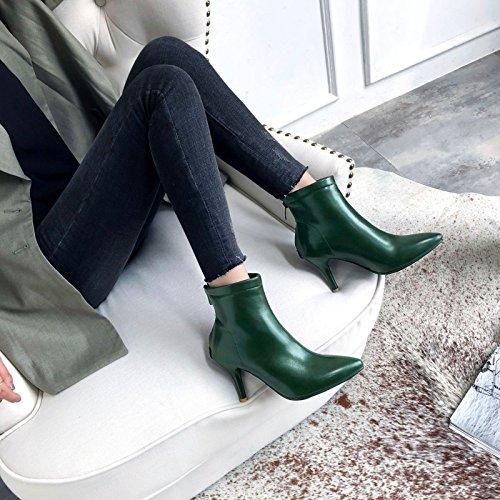 Sandalette-DEDE Hembra Botas Cortas, Europea y Americana de Viento Grande Código Corto Botas green