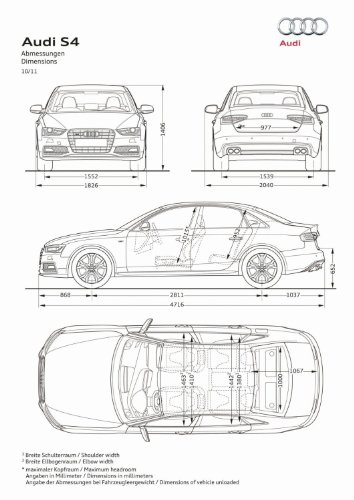 Audi S4 Car Art Poster Print on 10 mil Archival Satin Paper White Spec Sheet View 24