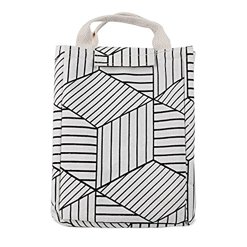 HOMESPON Reusable Lunch Bags Printed Canvas Fabric Insulated Waterproof Aluminum Foil, Lunch Box Women, Kids, Students (Geometric Pattern-White) by HOMESPON (Image #4)