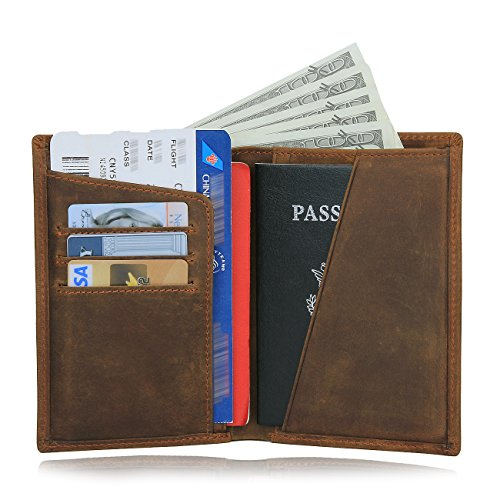 Texbo RFID Blocking Full Grain Cowhide Leather Passport Holder Card Case Travel Wallet (Light Brown)
