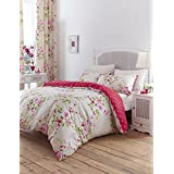 Catherine Lansfield Designer Collection Floral Duvet Set with Polka Dot Reverse - Red (Single)