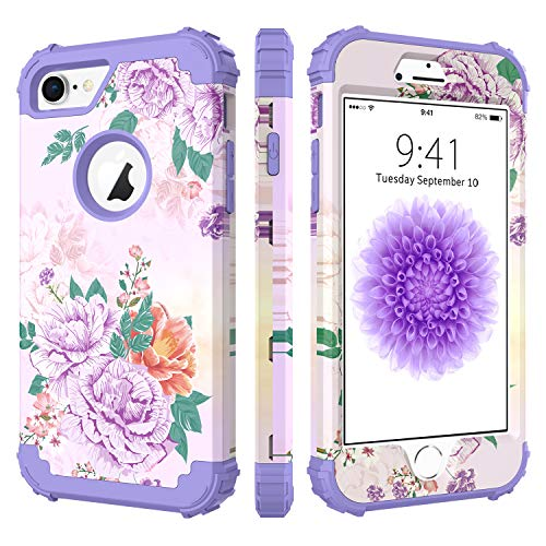 BENTOBEN Case for iPhone 7/iPhone 8, 3 in 1 Hybrid Hard PC Soft Rubber Heavy Duty Rugged Bumper Shockproof Antislip Three Layers Full Body Protective Phone Cover for Apple iPhone 7/iPhone 8, Purple