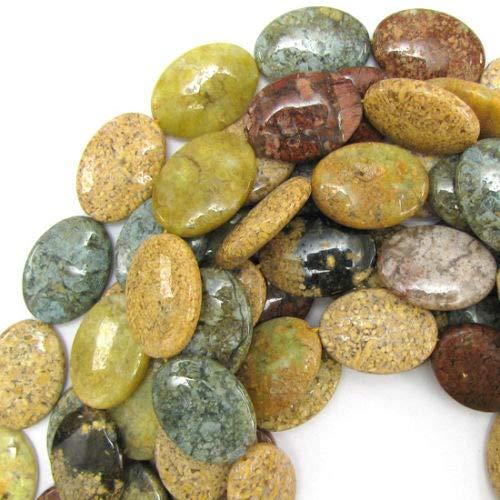 ShopForAllYou Design Making 30mm Natural Ocean Jasper Flat Oval Beads 15.5