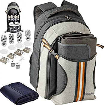 Scuddles Picnic BackPack Basket Cooler Insulated Lunch Bag Tote | Waterproof Set For Camping Marine Travel | includes Tableware Set For Wine Water Beer Food Outdoor Extra Large 4 Person  (SC-CB-01)
