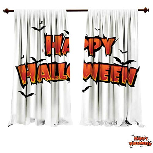 DragonBuildingMaterials Blackout Curtain Panels Happy Halloween Text Banner with bat Silhouette Vector Design Kitchenware Art Print