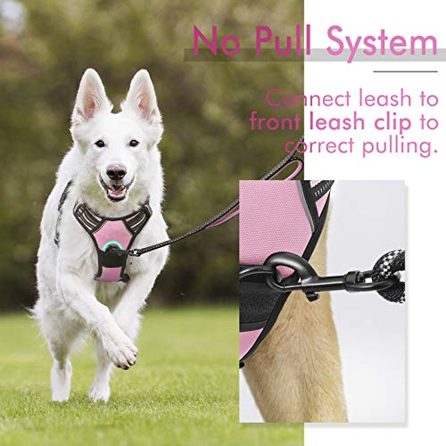 rabbitgoo Dog Harness,No-Pull Pet Harness with 2 Leash Clips, Adjustable Soft Padded Dog Vest, Reflective No-Choke Pet Oxford Vest with Easy Control Handle for Large Dogs, Pink, L