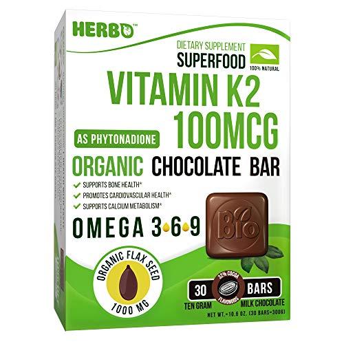 Vitamin K2, Organic - MK7 Vitamin 100 mcg - Organic Superfood - Support Bone and Heart Health - Premium Taste, Organic Chocolate Bar, Organic Omega 3 - Non-GMO, Gluten Free