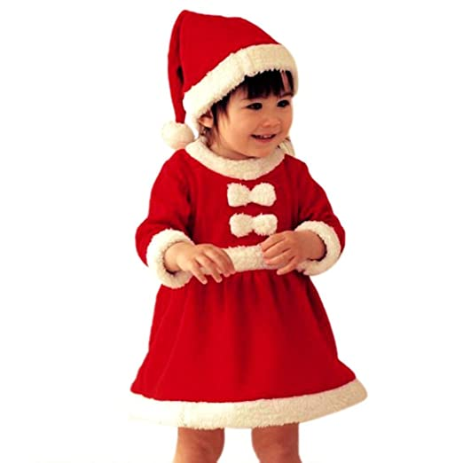 7d6da2fcef Voberry Girls Kids Costume Baby Girl s Santa Claus Girl Christmas Hats and  Dress ...