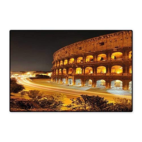 Amber Living Room Upholstery - Italy Door Mat Small Rug Colosseum at Night Scenery Rome European City Heritage Monument Landscape Bath Mat for Bathroom Mat 16