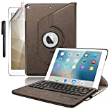 2018 iPad 9.7 Keyboard Case, Boriyuan 360 Degree Rotating Stand Smart Cover for Apple New iPad 2018 2017(Brown)