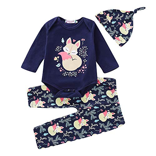 NUWFOR Infant Toddler Baby Boys Girls Floral Cartoon Fox Romper Pants Hat Outfits Set(Navy,6-12Months