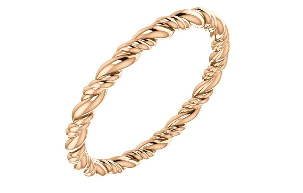 Jewels By Lux 14K Rose Gold Rope Eternity Wedding Ring Band Size 7