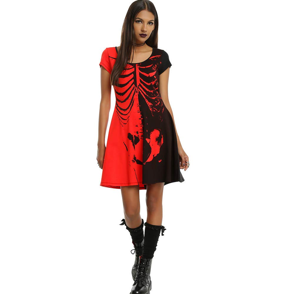 OCASHI Women Dresses Short Sleeve Sexy Slim Bodycon Club Party Cocktail Mini Dress for Halloween (S, Red)