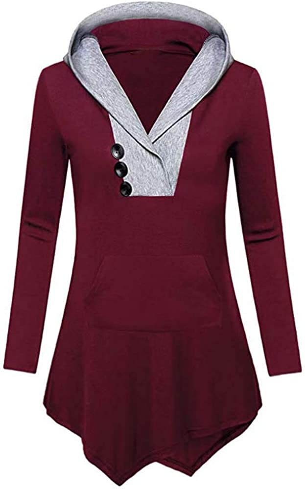 Women Long Sleeve Irregular Hem with Button Sweatshirt Casual Tops Shirt