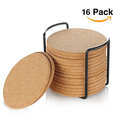 Coaster Natural - Natural Cork Coaster with Holder, Absorbent Coaster for Wine, Best for Drinks in Office, Home, or Cottage,Round, Set of 16, 4 inches