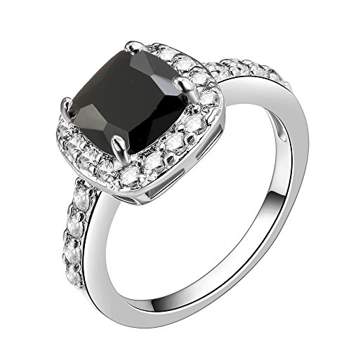 Impression Collection Square Rings Wedding Party Statement CZ Cocktails Gold Plated Classic Fashion Size 4-12 (Black, ()