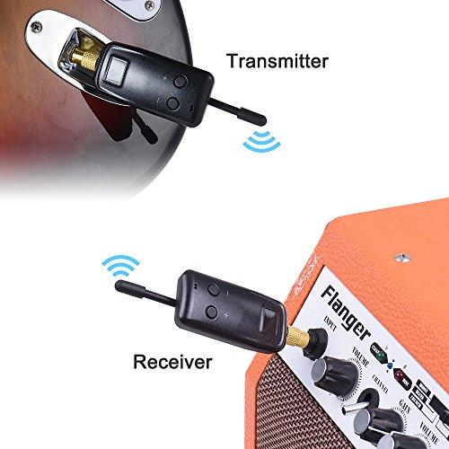 ammoon uhf wireless audio digital transmitter receiver system for electric guitar bass violin. Black Bedroom Furniture Sets. Home Design Ideas