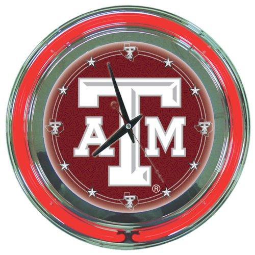 LRG1400-TAMU - Texas A&M University Neon Clock - 14 inch Diameter -
