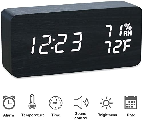 JCHORNOR Wooden Alarm Clock,Digital LED Clock with Adjustable Brightness with Time Date Day,Temperature,USB Cable Powered for Home,Office,Kid-Black