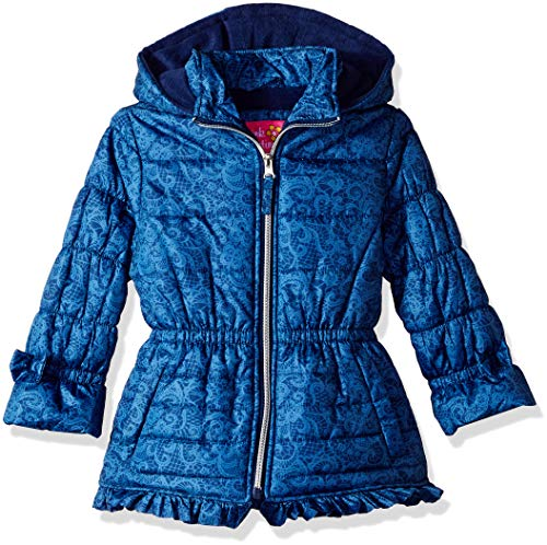 Pink Platinum Girls' Big Lace Puffer with Ruffle, Navy, 7/8