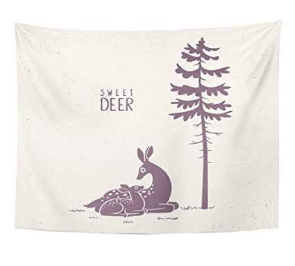 Amazon.com: Emvency Tapestry Wall Hanging Deers Silhouette ...