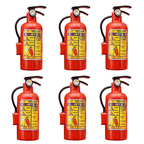 X Hot Popcorn 6 Pcs Mini Fire Extinguisher Shape Water Gun Squirter, Fun Outdoor Summer Toys for Boys and