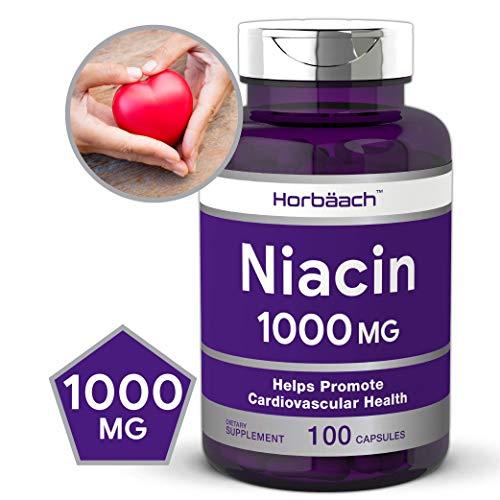 Niacin 1000mg 100 Capsules   Non-GMO, Gluten Free   Vitamin B3   by Horbaach