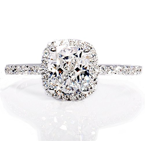 R5 TOP GRADE 2 CARAT RADIANT EMERALD CUSHION CUT SONA NSCD SIMULATED DIAMOND RING HALO DESIGN
