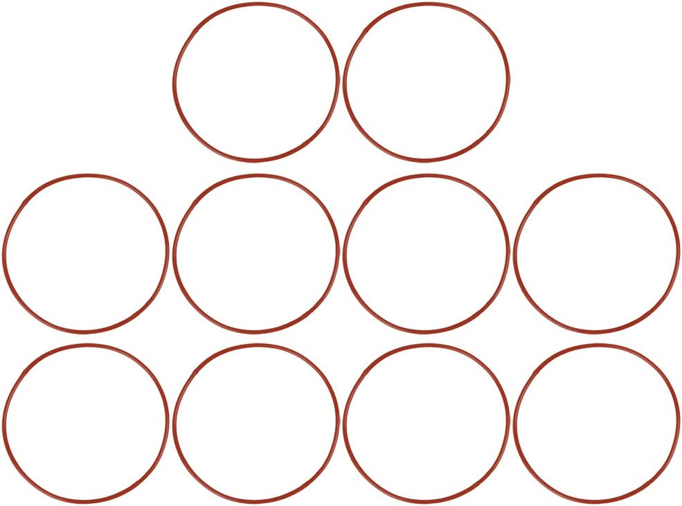 X AUTOHAUX 10pcs Red Universal Silicone O-Ring Sealing Gasket Washer for Car 100mm X 2.4mm