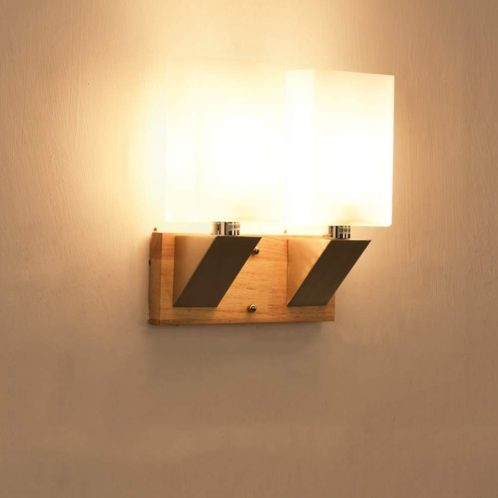 Unique Nordic Massivholz Glas E14 Wandleuchte Einfache Moderne Wohnzimmer Wandleuchte Strahler Kreative Studie Schlafzimmer Nachttischlampe Wandleuchte Licht
