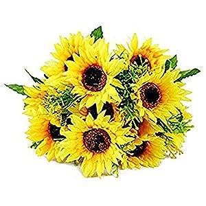 Acamifashion 1 Bouquet Artificial Silk Sunflower 7-Stems Flowers for Home Decoration Wedding Decor, Bride Holding Flowers Floral Decors 47