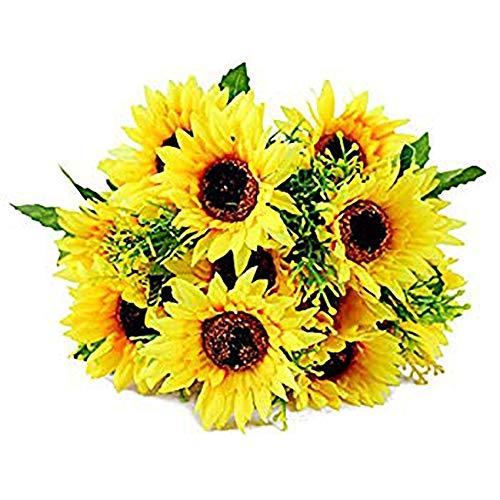 Acamifashion 1 Bouquet Artificial Silk Sunflower 7-Stems Flowers for Home Decoration Wedding Decor, Bride Holding Flowers Floral Decors