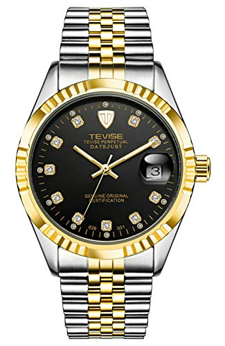 - Automatic Watch Men Luxury Gold Mechanical Watches Waterproof Casual Stainless Steel Mens Wristwatch (Black)