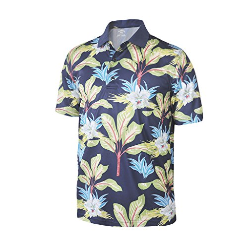 Monterey Club Monterey Club Men's Dry Swing Palm Tree Print Polo Shirt #1532 (Navy/Sage, X-Large) price tips cheap