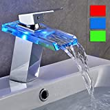Bathroom Faucets Led ROVATE Bathroom Sink LED Glass Faucet, RBG 3 Colors Changing Light Waterfall Spout Single Hand Single Hole Mixe Tap/Faucet Deck Mount on Sink, Polished Chrome