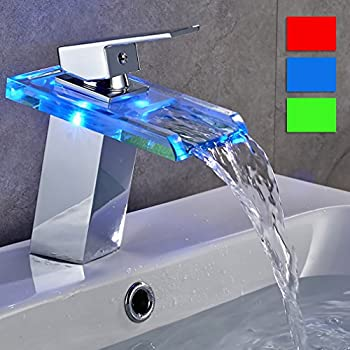ROVATE Bathroom Sink LED Glass Faucet, RBG 3 Colors Changing Light  Waterfall Spout Single Hand Single Hole Mixe Tap/Faucet Deck Mount On Sink,  ...