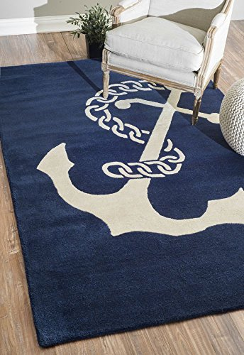 nuLOOM Varanas Collection Set Sail Contemporary Novelty Hand Made Area Rug, 5-Feet by 8-Feet, Navy