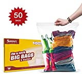 [PACK OF 50] Extra Large Zip & Lock Bags 18X24 Clear 5 Gallon for Marinating or Brining Large Turkey Roasts, Meat & Fish ; Or For Freezing, Storing or Organization