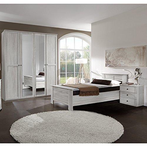 Landhaus-Schlafzimmer-komplett-Weieiche-100cm-Bett-Kleiderschrank-Nachtschrank