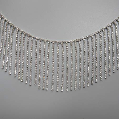 - 1 Yard Tassel Fringe Rhinestone Trim Ribbon Diamante Diamond Chain Crystal Gem Sparkle Wedding Bridal Necklace Prom Evening Dress Applique Party Show Accessories Sash Belt Craft (Style1: 3-1/7